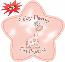 Personalised Pink Giraffe  Star Shaped  Baby On Board Car Sign ~ New!