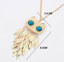 New Gold Color Owl Pendant crystal Cute Necklace For Women Rhinestone Crystal