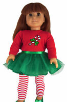 "2 Piece Christmas Tutu Dress & Leggings for 18"" American Girl Doll Clothes"