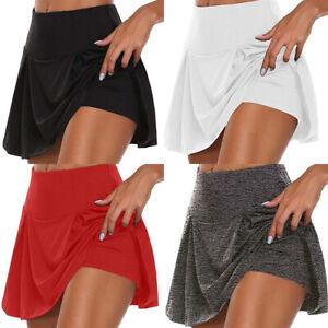 Womens High Waist Skorts Workout Tennis Sports Shorts Mini Skirt Yoga Pants US