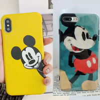 For iPhone Xs Max X 8 7 6 Cute Disney Minnie Mickey Mouse Glossy Back Cover Case
