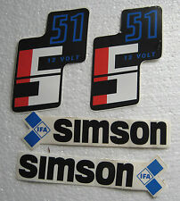Orig DDR Aufkleber Simson S51 4-teilig Tank und Seitendeckel Simson S 51 IFA