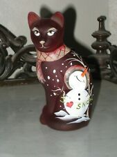 2019 FENTON HP RUBY SATIN GLASS TOE TAPPING SNOWMAN STYLIZED CAT FIGURINE  LE