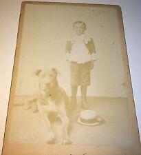 Rare Antique Victorian American Adorable Child, Big Dog! Missouri Cabinet Photo!