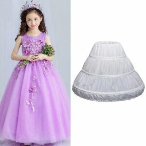 A-line Flower Girl 3-Hoop Crinoline Petticoat Underskirt Children Age 2-14 Dress