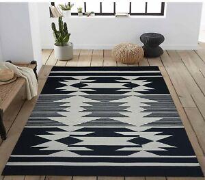 5'6 x 8' Rug | Hand Dhurrie (Punja Weave )  Black White Wool Area Rug |