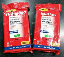 "2pks 40ct Antibacterial Wet Wipes Travel Pack 5.7"" x 7.48"" Kills Germs Aloe & E"