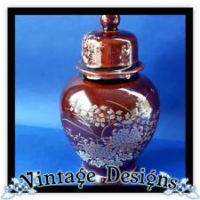 RETRO ginger jar porcelain small Made in Japan brown gold lidded