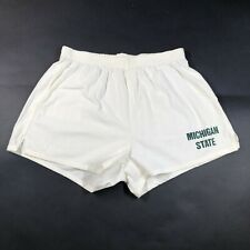 NWT Vintage 90s Michigan State University Mens L White Green Spell Out Shorts