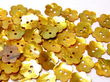 B470 Gold Yellow Mother of Pearl Flower Shell Button Craft DIY Making 20mm30pcs