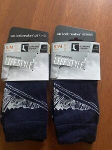Icebreaker Merino Wool Lifestyle Crew Socks, Size S/M, 2 Pair