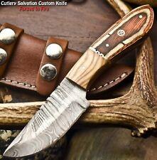 Rare Custom Hand Made Damascus Steel Blade Full Tang Hunting Knife   Hard Wood