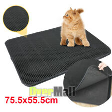 Black Large hole Cat Litter Mat Extra Large Size 29.7x21.9 inch- Dual-Structure