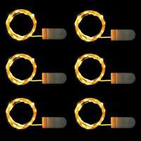 6x 20er^^ LED Lichterkette Drahtlichterkette Leuchtdraht Deko Micro warmweiss