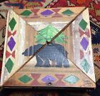 Vintage SIGNED primitive wooden box   2 piece lid hand painted NW bear UNUSUAL