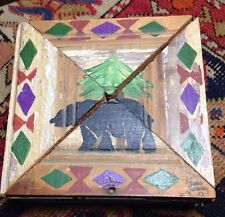 Vintage SIGNED primitive wooden box - 2 piece lid hand-painted NW bear UNUSUAL