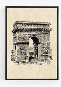 Arc Du Triomphe Picture Wall Art Landmark Paris Unframed Vintage home Decor A4 8