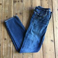 American Eagle Womens Blue Super Stretch Straight Leg Jeans Size 2 Short