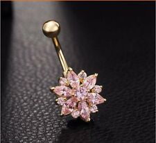 Gold Plated Pink CZ Gem Rhinestone Flower Sparkle Belly Navel Ring Body Jewelry