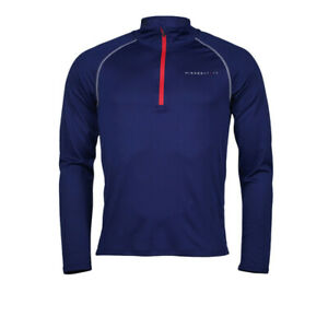 Higher State Mens Half Zip L/S Running Top 2.0 Blue Sports Breathable Reflective