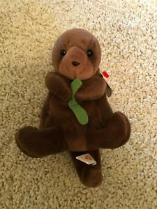 ULTRA RARE - Seaweed The Otter - Beanie Baby Retired TY - Tag Errors & Features