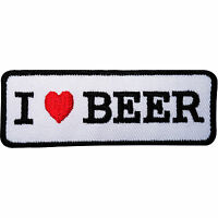 I LOVE BEER Embroidered Iron / Sew On Clothes Patch Hat Cap Jeans Backpack Badge
