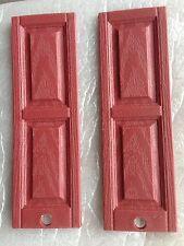 1:12 scale 16 Pair 32 pieces Raised panel  plastic dollhouse shutters Medium Red