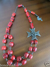 Antique Red Coral Necklace /800 silver Filigree Cross necklace with cross/medal