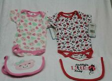 (2)GIRLS SZ 0-3 MONTH I PC CREEPERS  w/MATCHING BIBS by CUTIE PIE NEW WITH TAGS