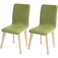 2x chaise de salle à manger Zadar, fauteuil, rétro, tissu ~ vert avec couture