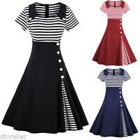 Women Striped Vintage 1950s 60s Rockabilly Evening Prom Swing Dress Plus Size