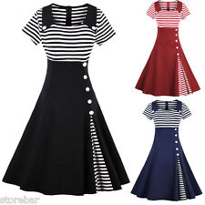 PLUS SIZE Womens 50S ROCKABILLY DRESS Swing Pinup Retro Housewife Party Evening