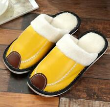 Women Waterproof Flats Plush Shoes Slippers Leather Cotton Home Warm Soft Unisex