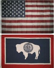 Wholesale Combo Lot of 3x5 Usa Flag & State of Wyoming 3x5 2 Flags Banner