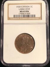 Canada 1920 Large Cent NGC MS 63 BN Brown One Cent Coin Rare