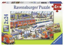 Kinder Spiel Trubel am Bahnhof - 2 x 24 Teile Puzzle Puzzlefläche Puzzle