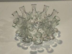 Glass Multi Cluster stackable Bud Vase 19 Flower Floral Arranger Ring 9 x 4.5