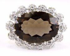 Wide Oval Smokey Brown Topaz & Diamond Ring 14k White Gold 11.80Ct
