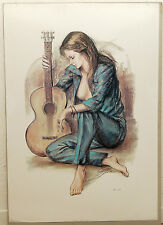 (PRL) RAGAZZA CHITARRA GUITAR MARCEL VINTAGE AFFICHE PRINT ART POSTER COLLECTION