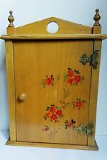 Wooden cabinet Vintage Keys Box 8 Hooks Holder Organizer Wall Mounted