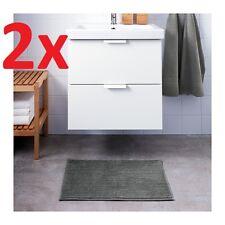 2x IKEA BADAREN Non-Slip Microfibre Bathroom Bath Mat Bathmat Rug 40x60cm Grey