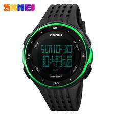 Fashion Mens Waterproof LED Date Digital Sports Quartz Wrist Watch Army Military A# Blue