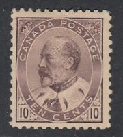 """Canada MINT OG Scott #93 10 cent brown lilac """"King Edward VII""""  F"""