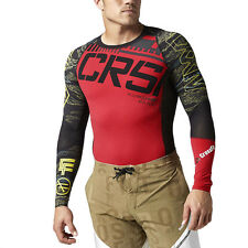 Reebok Men's Crossfit Top Compression L/S Shirt Black/Red B87913 NEW!