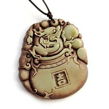 Happy Lucky Chinese Zodiac Dragon Bat Two Layer Natural Stone Amulet Pendant