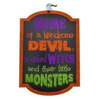 Halloween Wooden Sign, Wall or Door Decor Centerpiece DIY Wreath Witch Monsters