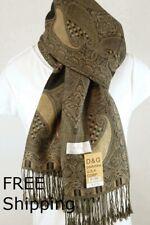 DG Women's Pashmina Scarf Shawl.Paisley Brown Black Silk Cashmere,Soft