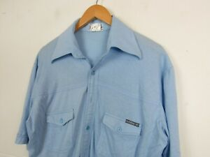 Vintage Adidas 80s T-Shirt Blue Indie Classic Button Up Northern Soul Shirt XL