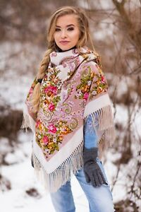 Large colourful Russian culture style folk shawl scarf Winter collection 2020 /2