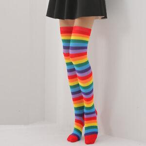 Fashion Women Cotton Rainbow Over Knee High Socks Stripes Stockings Thigh Socks